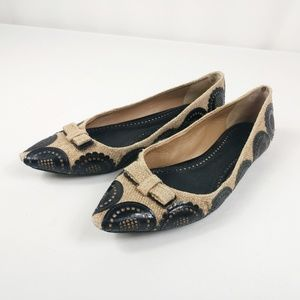 Tory Burch Burlap Pointed Bow Flats